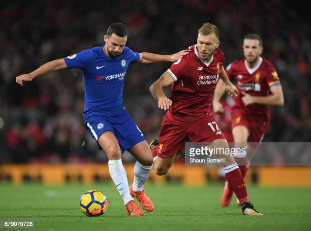 Danny Drinkwater of Chelsea and Ragnar Klavan of Liverpool battle for possession during the Premier League match between Liverpool and Chelsea at...
