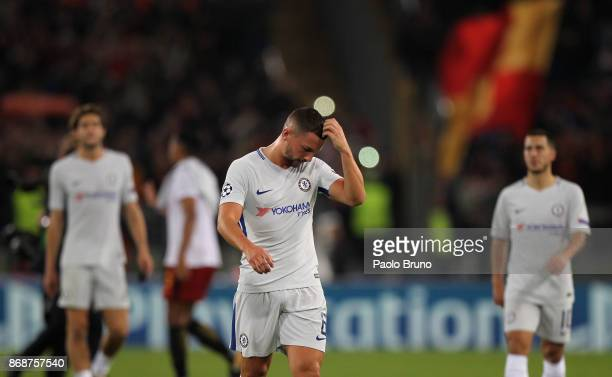 Danny Drinkwater of Chelsea FC reacts after the UEFA Champions League group C match between AS Roma and Chelsea FC at Stadio Olimpico on October 31...