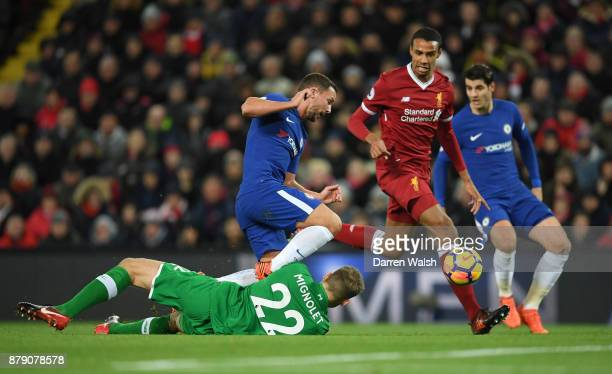 Danny Drinkwater of Chelsea is foiled by Simon Mignolet of Liverpool during the Premier League match between Liverpool and Chelsea at Anfield on...