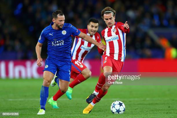 Danny Drinkwater of Leicester City and Antoine Griezmann of Atletico Madrid battle for possession during the UEFA Champions League Quarter Final...