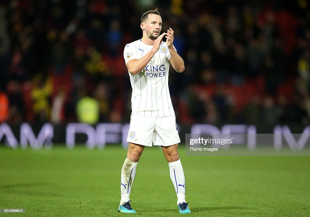 Danny Drinkwater of Leicester City applauds the travelling fans after the Premier League match between Watford and Leicester City at Vicarage Road on November 19, 2016 in Watford, United Kingdom.