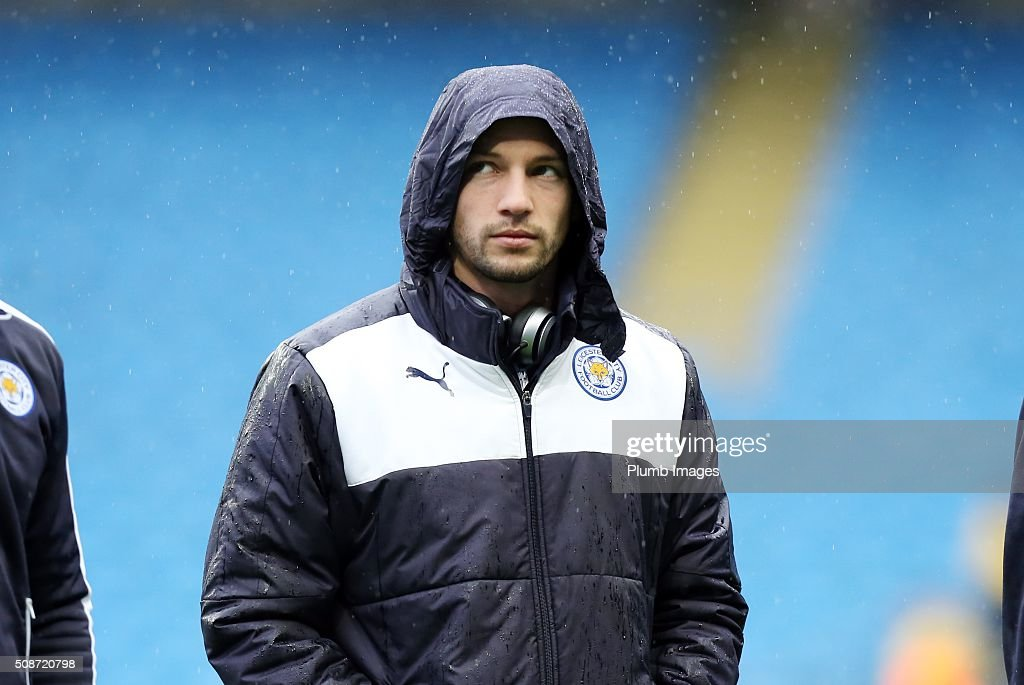 Danny Drinkwater of Leicester City at the Etihad Stadium ahead of the Premier League match between Manchester City and Leicester City at Etihad Stadium on February 6, 2016 in Manchester, United Kingdom.