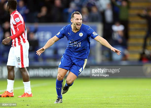 Danny Drinkwater of Leicester City celebrates after scoring to make it 10 during the Barclays Premier League match between Leicester City and Stoke...