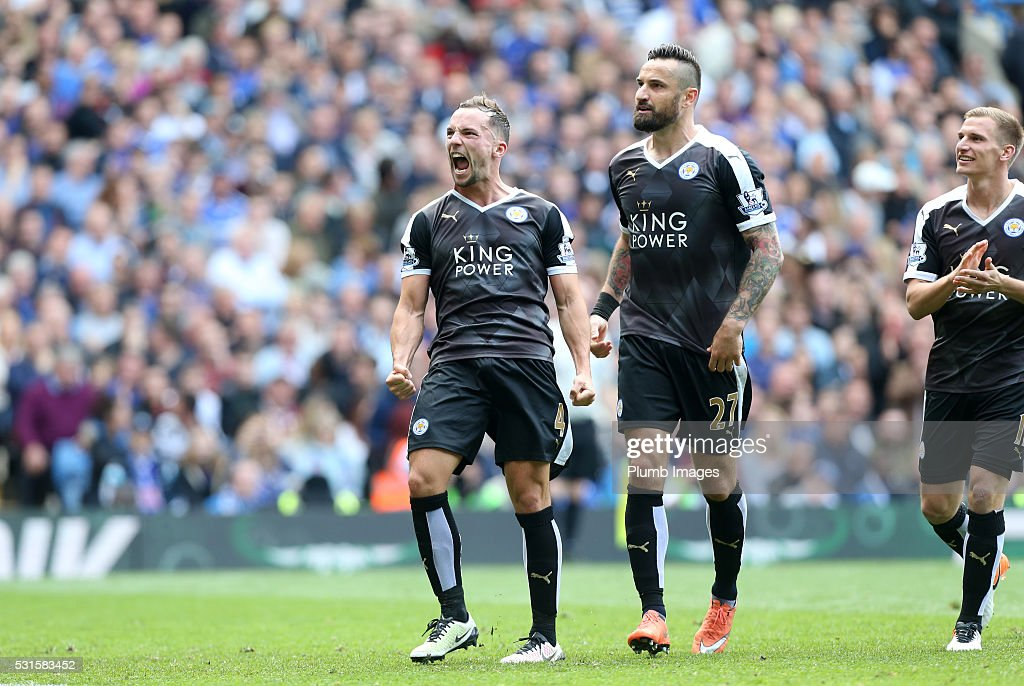 Danny Drinkwater of Leicester City celebrates after scoring to make it 1-1 during the Premier League match between Chelsea and Leicester City at Stamford Bridge on May 15th, 2016 in London, United Kingdom.