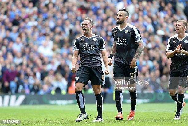 Danny Drinkwater of Leicester City celebrates after scoring to make it 11 during the Premier League match between Chelsea and Leicester City at...