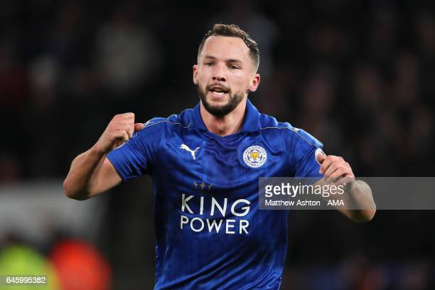 Danny Drinkwater of Leicester City celebrates scoring the second goal to make the score 20 during the Premier League match between Leicester City and...