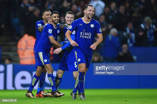 Danny Drinkwater of Leicester City celebrates with team mates Riyad Mahrez Jamie Vardy and Danny Simpson after the 3rd Leicester goal during the...