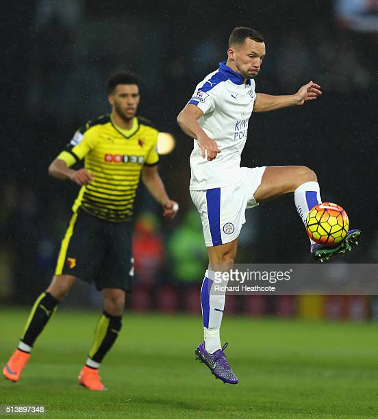 Danny Drinkwater of Leicester City in action during the Barclays Premier League match between Watford and Leicester City at Vicarage Road on March 5...