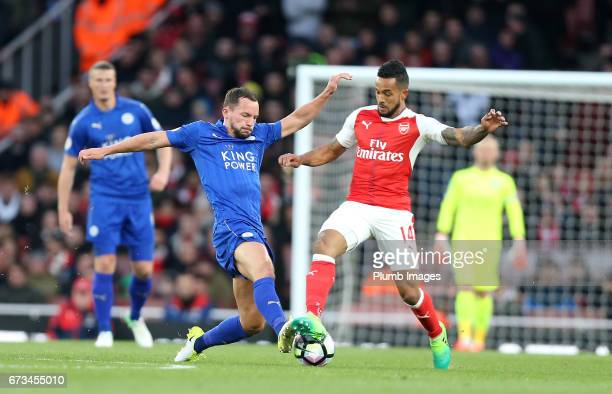 Danny Drinkwater of Leicester City in action with Theo Walcott of Arsenal during the Premier League match between Arsenal and Leicester City at...