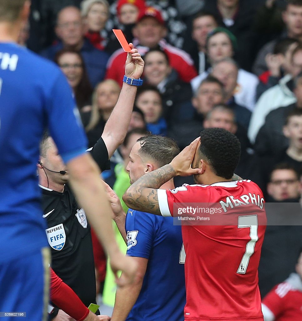 <a gi-track='captionPersonalityLinkClicked' href=/galleries/search?phrase=Danny+Drinkwater&family=editorial&specificpeople=4224396 ng-click='$event.stopPropagation()'>Danny Drinkwater</a> of Leicester City is sent off by Referee Michael Oliver during the Barclays Premier League match between Manchester United and Leicester City at Old Trafford on May 1, 2016 in Manchester, England.