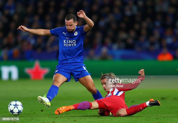 Danny Drinkwater of Leicester City is tackled by Antoine Griezmann of Atletico Madrid during the UEFA Champions League Quarter Final second leg match...