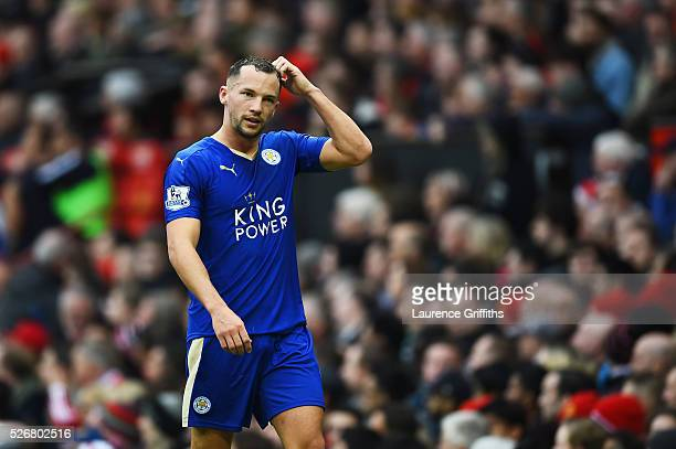 Danny Drinkwater of Leicester City leaves the field after being sent off during the Barclays Premier League match between Manchester United and...