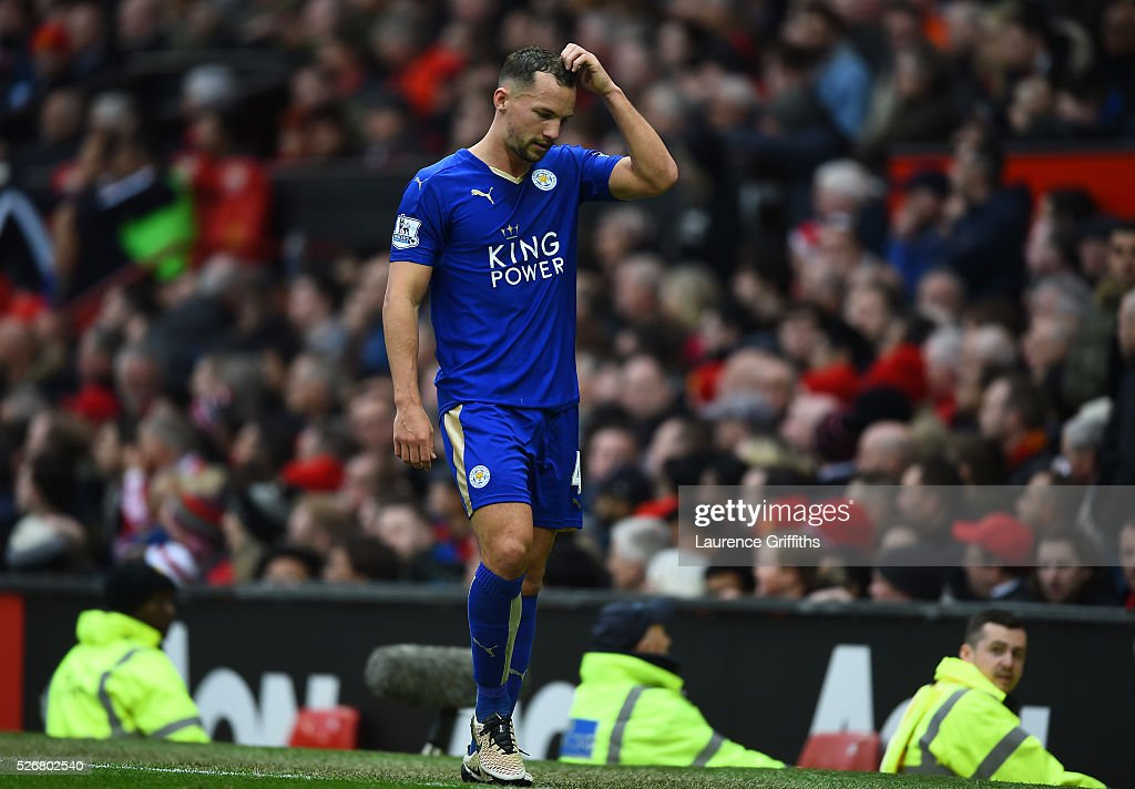 <a gi-track='captionPersonalityLinkClicked' href=/galleries/search?phrase=Danny+Drinkwater&family=editorial&specificpeople=4224396 ng-click='$event.stopPropagation()'>Danny Drinkwater</a> of Leicester City leaves the field after being sent off during the Barclays Premier League match between Manchester United and Leicester City at Old Trafford on May 1, 2016 in Manchester, England.