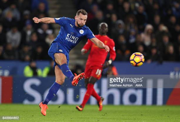 Danny Drinkwater of Leicester City scores the second goal to make the score 20 during the Premier League match between Leicester City and Liverpool...