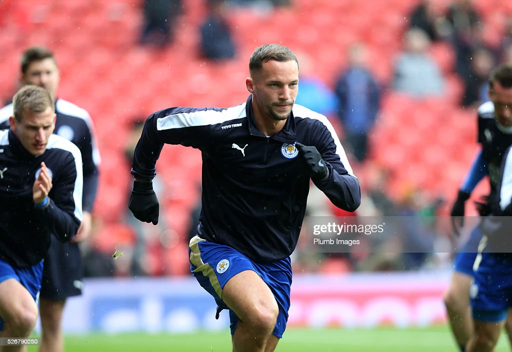 <a gi-track='captionPersonalityLinkClicked' href=/galleries/search?phrase=Danny+Drinkwater&family=editorial&specificpeople=4224396 ng-click='$event.stopPropagation()'>Danny Drinkwater</a> of Leicester City warms up at Old Trafford ahead of the Premier League match between Manchester United and Leicester City at Old Trafford on May 01, 2016 in Manchester, United Kingdom.