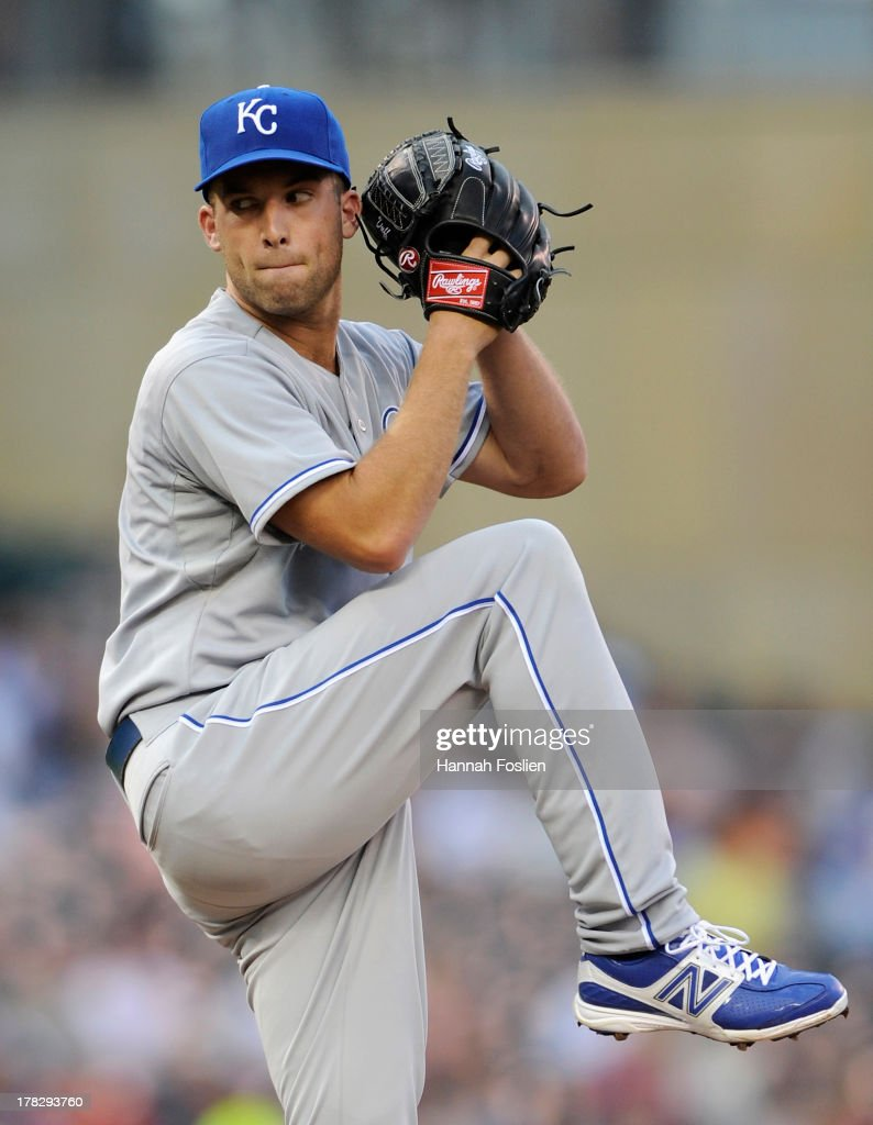Danny Duffy #41 of the Kansas City Royals delivers a pitch against the Minnesota Twins during the first inning of the game on August 28, 2013 at Target Field in Minneapolis, Minnesota.