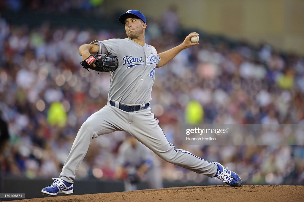 <a gi-track='captionPersonalityLinkClicked' href=/galleries/search?phrase=Danny+Duffy&family=editorial&specificpeople=5971971 ng-click='$event.stopPropagation()'>Danny Duffy</a> #41 of the Kansas City Royals delivers a pitch against the Minnesota Twins during the game on August 28, 2013 at Target Field in Minneapolis, Minnesota.