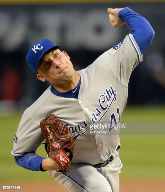 Danny Duffy of the Kansas City Royals pitches against the Chicago White Sox on April 25 2017 at Guaranteed Rate Field in Chicago Illinois The White...