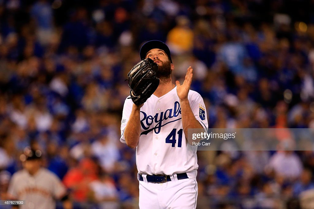 <a gi-track='captionPersonalityLinkClicked' href=/galleries/search?phrase=Danny+Duffy&family=editorial&specificpeople=5971971 ng-click='$event.stopPropagation()'>Danny Duffy</a> #41 of the Kansas City Royals reacts in the seventh inning against the San Francisco Giants during Game One of the 2014 World Series at Kauffman Stadium on October 21, 2014 in Kansas City, Missouri.