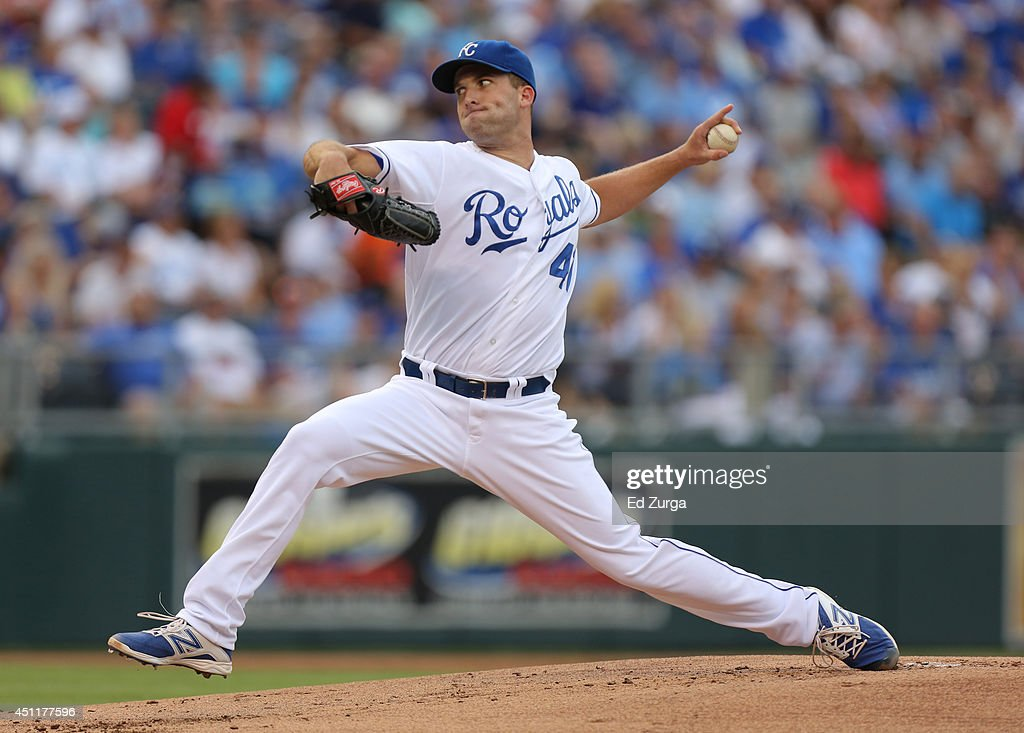 <a gi-track='captionPersonalityLinkClicked' href=/galleries/search?phrase=Danny+Duffy&family=editorial&specificpeople=5971971 ng-click='$event.stopPropagation()'>Danny Duffy</a> #41 of the Kansas City Royals throws in the first inning against the Los Angeles Dodgers at Kauffman Stadium on June 24, 2014 in Kansas City, Missouri.