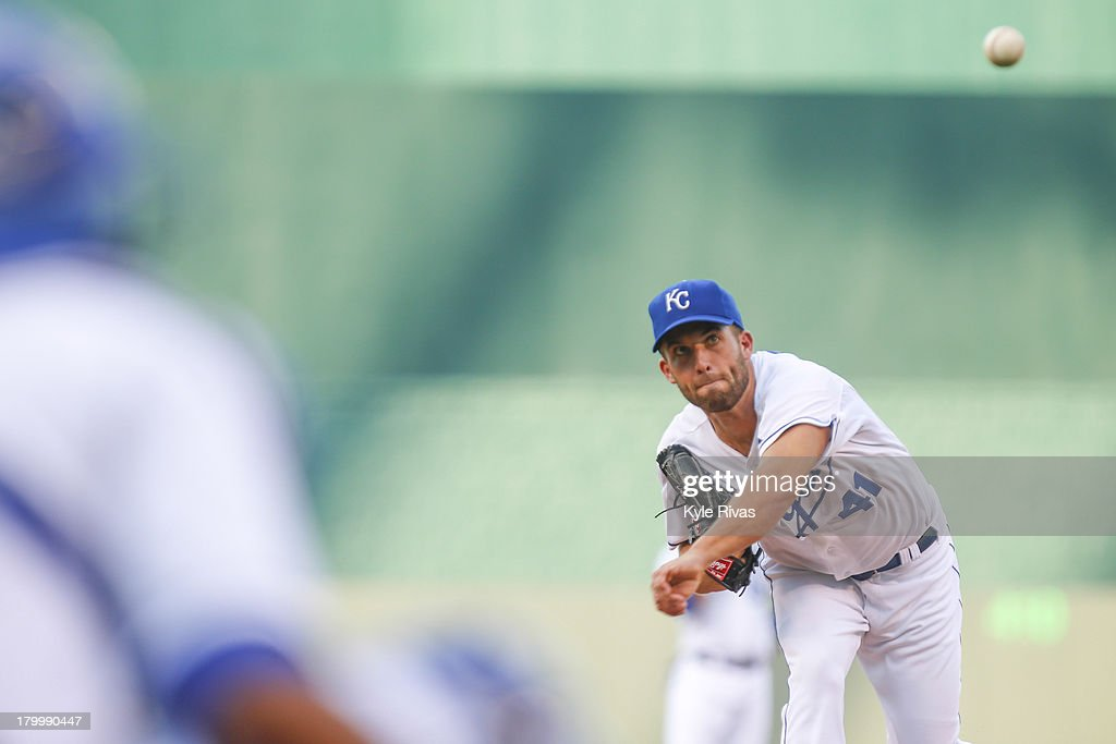 <a gi-track='captionPersonalityLinkClicked' href=/galleries/search?phrase=Danny+Duffy&family=editorial&specificpeople=5971971 ng-click='$event.stopPropagation()'>Danny Duffy</a> #41 of the Kansas City Royals warms up before pitching against the Detroit Tigers in the first inning on September 06, 2013 at Kauffman Stadium in Kansas City, Missouri.