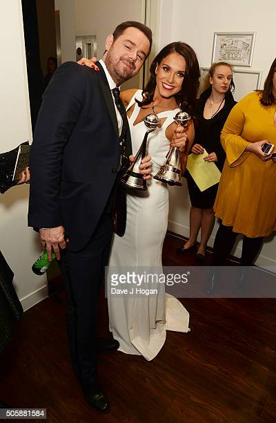 Danny Dyer and Vicky Pattison with the awards for Serial Drama Performance and Entertainment Programme attend the 21st National Television Awards at...