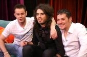 Danny Dyer Host Russell Brand and Matt Jay appearing on No 1 Leicester SquareThe show will be broadcast on MTV at 1000pm on Monday