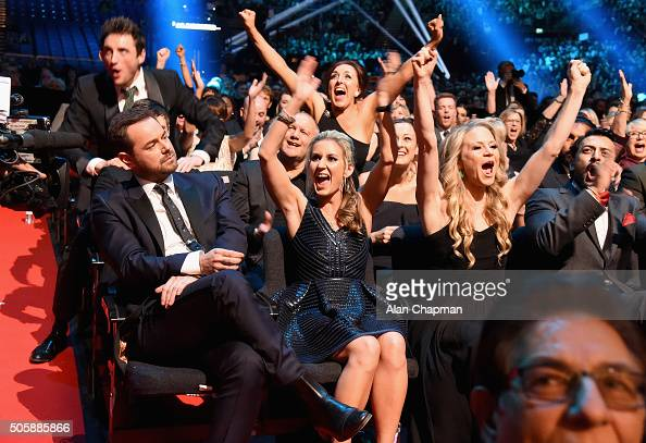 Danny Dyer Joanne Mas and Kellie Bright at the 21st National Television Awards at The O2 Arena on January 20 2016 in London England