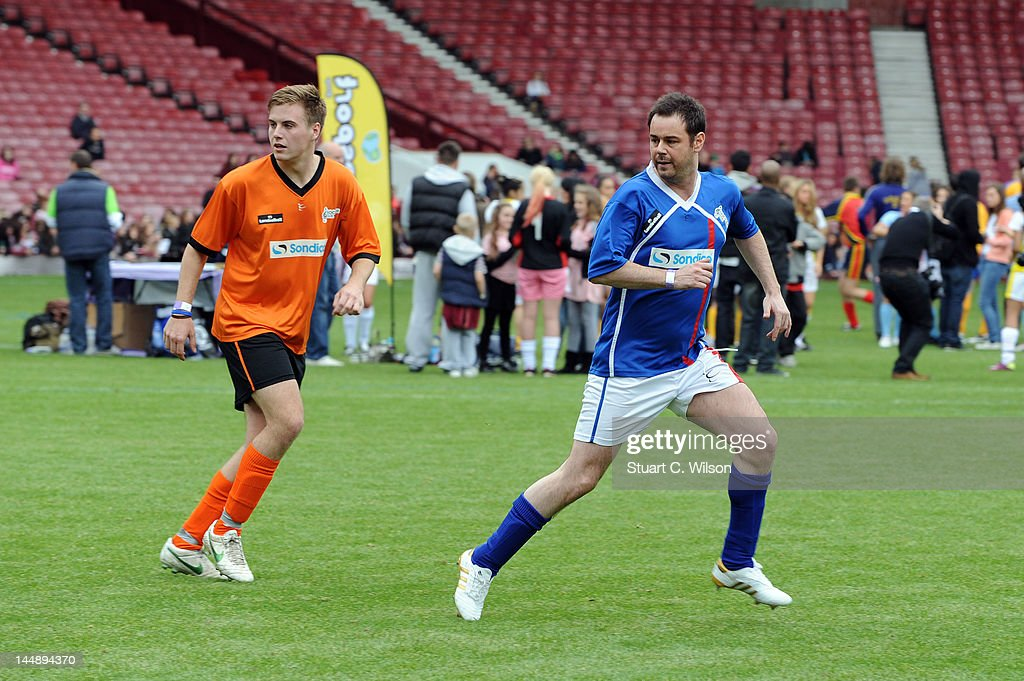 Danny Dyer (R) plays during the Celebrity Soccer Six 2012 Tournament at Upton Park on May 20, 2012 in London, England.