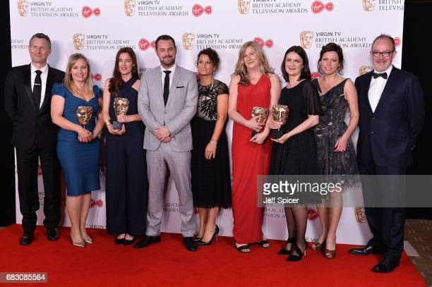 Danny Dyer poses with Helen Nixon Anna Kirkwood Leanne Klein Sarah Feltes Colette Flight Diene Petterle and Richard Thomson winners of the Features...