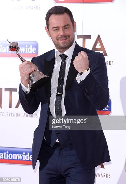 Danny Dyer poses with his award for Best Serial Drama Performance at the 21st National Television Awards at The O2 Arena on January 20 2016 in London...
