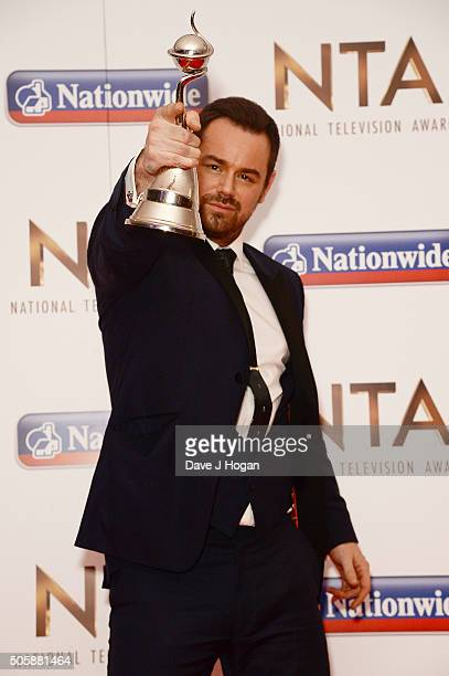 Danny Dyer with the award for Serial Drama Performance attends the 21st National Television Awards at The O2 Arena on January 20 2016 in London...