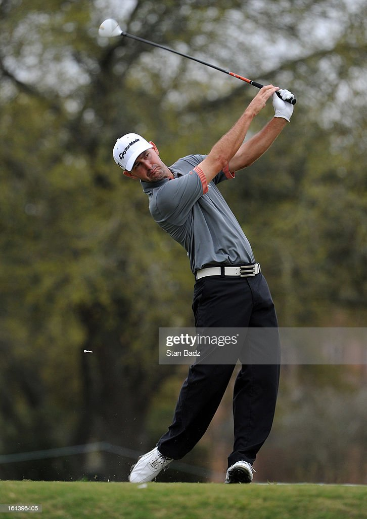Danny Ellis hits a drive on the tenth hole during the third round of the Chitimacha Louisiana Open at Le Triomphe Country Club on March 23, 2013 in Broussard, Louisiana.