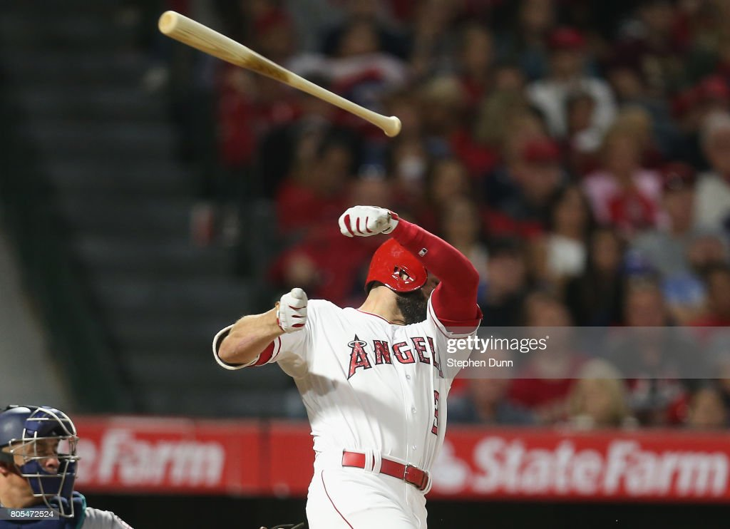 Danny Espinosa #3 of the Los Angeles Angels of Anaheim loses his bat as he swings and misses in the seventh inning against the Seattle Mariners at Angel Stadium of Anaheim on July 1, 2017 in Anaheim, California.