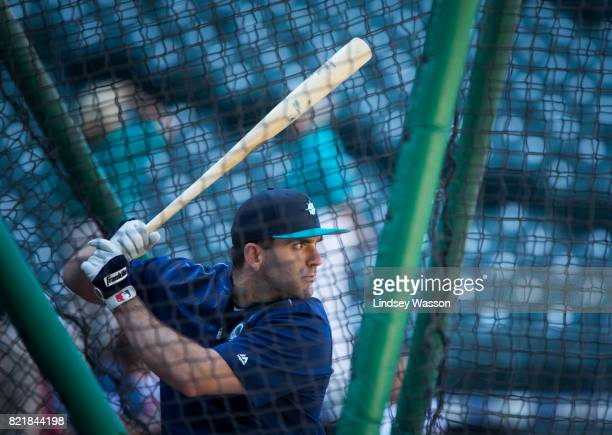 Danny Espinosa of the Seattle Mariners prepares to swing during batting practice before the game against the Boston Red Sox at Safeco Field on July...