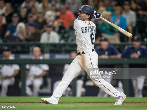 Danny Espinosa of the Seattle Mariners takes a swing during an atbat in a game against the Boston Red Sox at Safeco Field on July 25 2017 in Seattle...