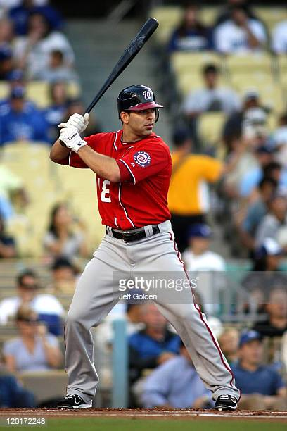 Danny Espinosa of the Washington Nationals bats against the Los Angeles Dodgers in the first inning of the game at Dodger Stadium on July 23 2011 in...