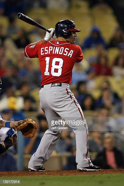Danny Espinosa of the Washington Nationals bats against the Los Angeles Dodgers in the ninth inning of the game at Dodger Stadium on July 23 2011 in...