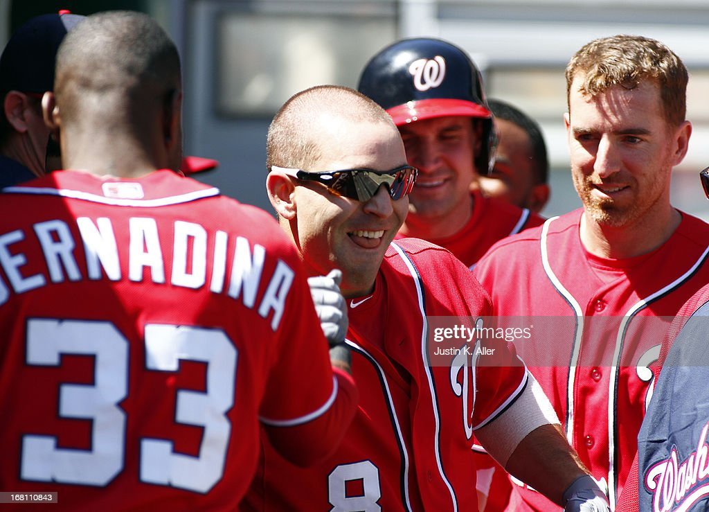 <a gi-track='captionPersonalityLinkClicked' href=/galleries/search?phrase=Danny+Espinosa&family=editorial&specificpeople=4410764 ng-click='$event.stopPropagation()'>Danny Espinosa</a> #8 of the Washington Nationals celebrates after hitting a two run home run in the fourth inning against the Pittsburgh Pirates during the game on May 5, 2013 at PNC Park in Pittsburgh, Pennsylvania.