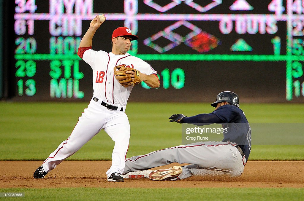 <a gi-track='captionPersonalityLinkClicked' href=/galleries/search?phrase=Danny+Espinosa&family=editorial&specificpeople=4410764 ng-click='$event.stopPropagation()'>Danny Espinosa</a> #18 of the Washington Nationals forces out <a gi-track='captionPersonalityLinkClicked' href=/galleries/search?phrase=Jason+Heyward&family=editorial&specificpeople=5043351 ng-click='$event.stopPropagation()'>Jason Heyward</a> #22 of the Atlanta Braves to start a double play at Nationals Park on August 1, 2011 in Washington, DC. The Nationals won the game 5-3.