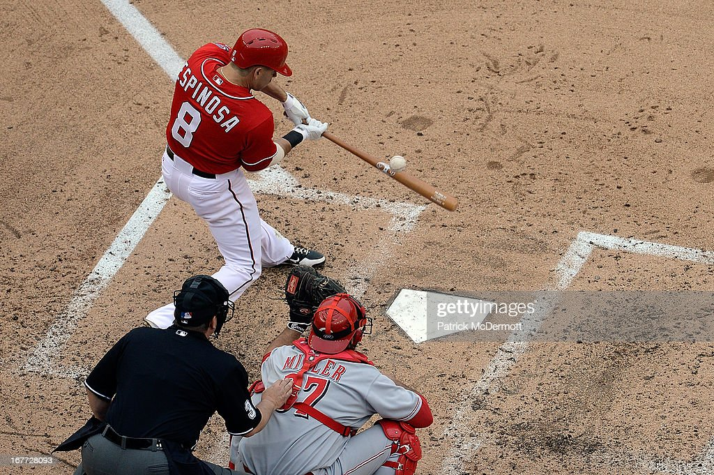 Danny Espinosa #8 of the Washington Nationals hits a foul ball in the fourth inning during a game against the Cincinnati Reds the at Nationals Park on April 28, 2013 in Washington, DC.