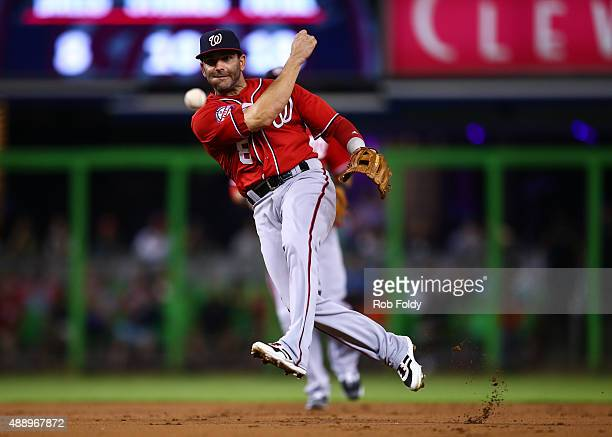 Danny Espinosa of the Washington Nationals in action during the game against the Miami Marlins at Marlins Park on September 12 2015 in Miami Florida