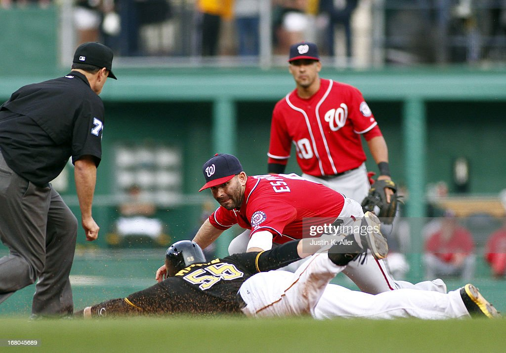 <a gi-track='captionPersonalityLinkClicked' href=/galleries/search?phrase=Danny+Espinosa&family=editorial&specificpeople=4410764 ng-click='$event.stopPropagation()'>Danny Espinosa</a> #8 of the Washington Nationals makes a tag on <a gi-track='captionPersonalityLinkClicked' href=/galleries/search?phrase=Russell+Martin+-+Voetballer&family=editorial&specificpeople=13764024 ng-click='$event.stopPropagation()'>Russell Martin</a> #55 of the Pittsburgh Pirates during the game on May 4, 2013 at PNC Park in Pittsburgh, Pennsylvania. The Nationals defeated the Pirates 5-4.