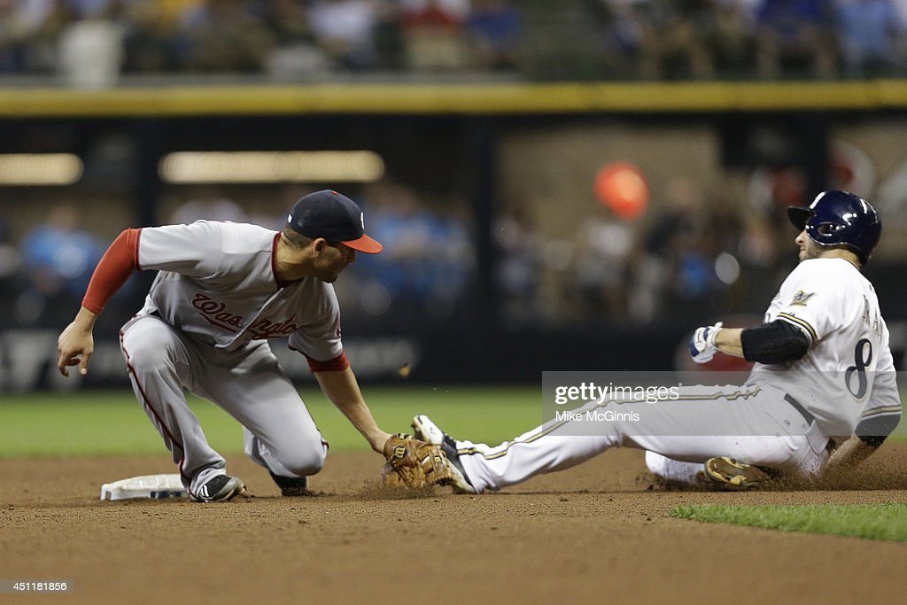 Danny Espinosa #8 of the Washington Nationals makes the tag on Ryan Braun #8 of the Milwaukee Brewers while stealing second base in the bottom of the seventh inning at Miller Park on June 24, 2014 in Milwaukee, Wisconsin.