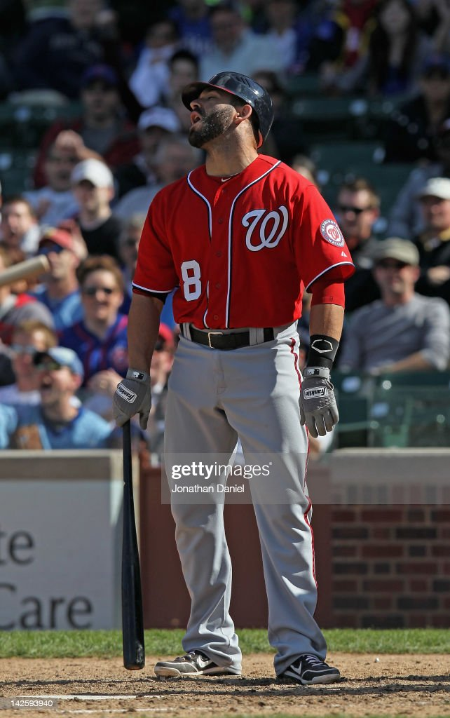 Danny Espinosa #8 of the Washington Nationals reacts after a called third strike against the Chicago Cubs at Wrigley Field on April 8, 2012 in Chicago, Illinois. The Cubs defeated the Nationals 4-3.