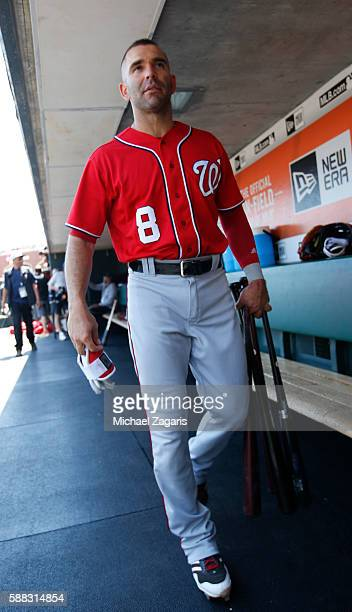 Danny Espinosa of the Washington Nationals stands in the dugout prior to the game against the San Francisco Giants at ATT Park on July 31 2016 in San...