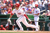 Danny Espinosa of the Washington Nationals takes a swing during a baseball game against the San Diego Padres at Nationals Park on July 24 2016 in...