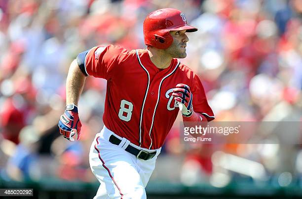 Danny Espinosa of the Washington Nationals watches his threerun double in the third inning against the Milwaukee Brewers at Nationals Park on August...