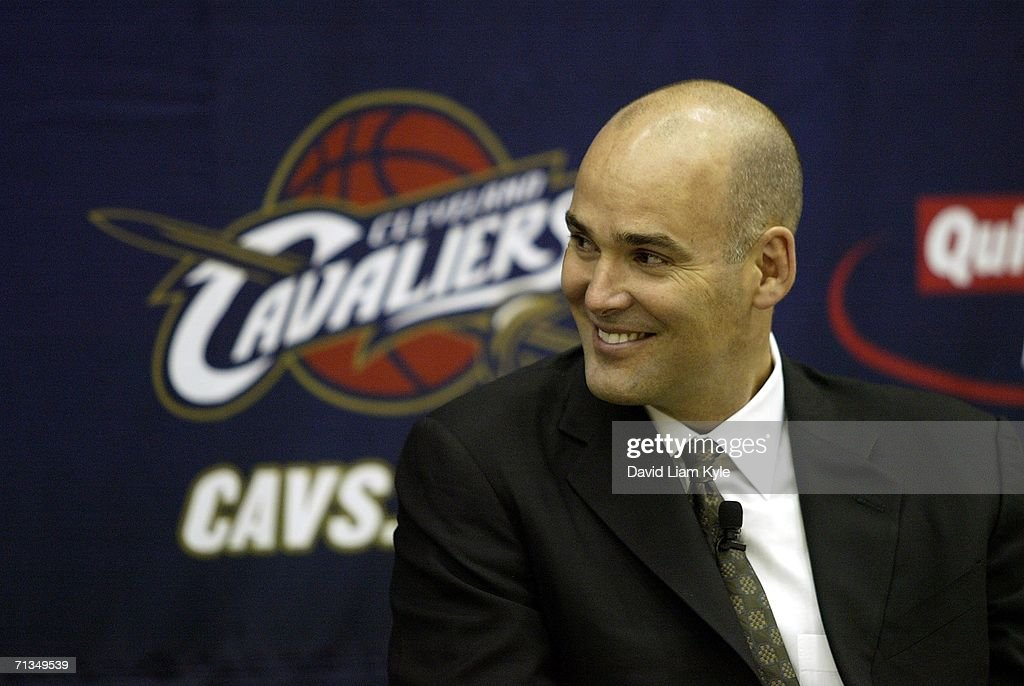 Danny Ferry, General Manager of the Cleveland Cavaliers, publicly welcomes new players Shannon Brown #6 and Daniel Gibson #21 during a press conference on June 30, 2006 at The Quicken Loans Arena in Cleveland, Ohio.