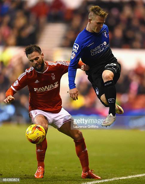 Danny Fox of Nottingham Forest battles with Matt Richie of Bournemouth during the Sky Bet Championship match between Nottingham Forest and AFC...